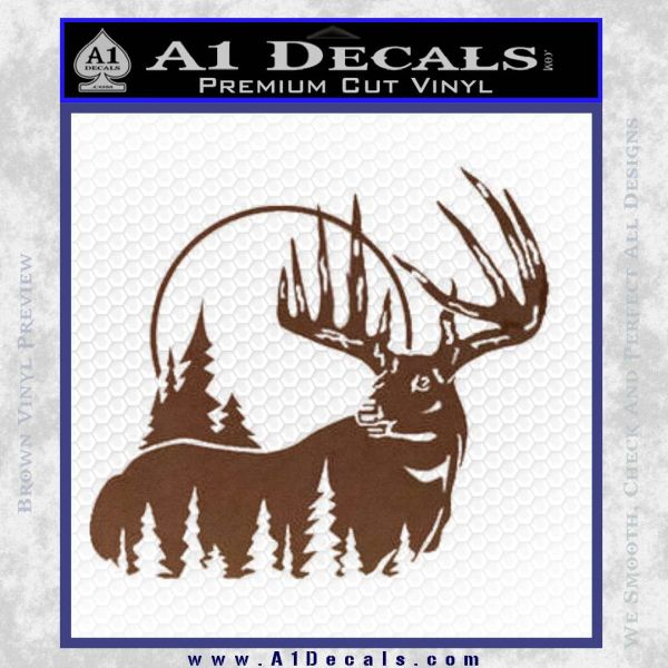 Buck Deer Decal Sticker BROWN Vinyl