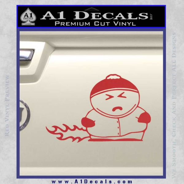Cartman Farting South Park Decal Sticker Red