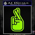 Crossed Fingers D2 Decal Sticker Lime Green Vinyl 120x120