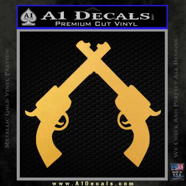 Crossed Pistols Decal Sticker Gold Vinyl