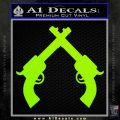 Crossed Pistols Decal Sticker Lime Green Vinyl 120x120