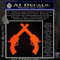 Crossed Pistols Decal Sticker Orange Emblem 120x120