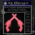 Crossed Pistols Decal Sticker Pink Emblem 120x120