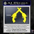 Crossed Pistols Decal Sticker Yellow Laptop 120x120