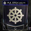 Dharma Wheel Decal Sticker Traditional Metallic Silver Emblem 120x120