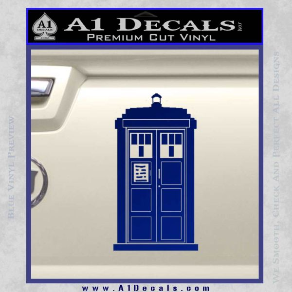 Doctor Who Tardis 8 Bit Decal Sticker Blue Vinyl
