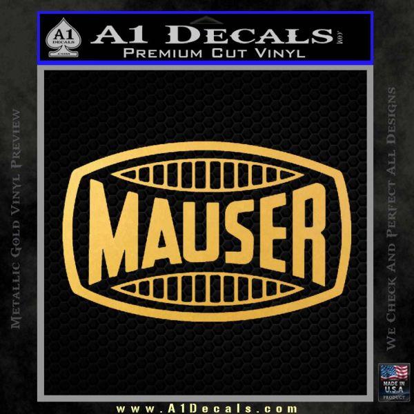 Mauser Firearms Decal Sticker Gold Vinyl