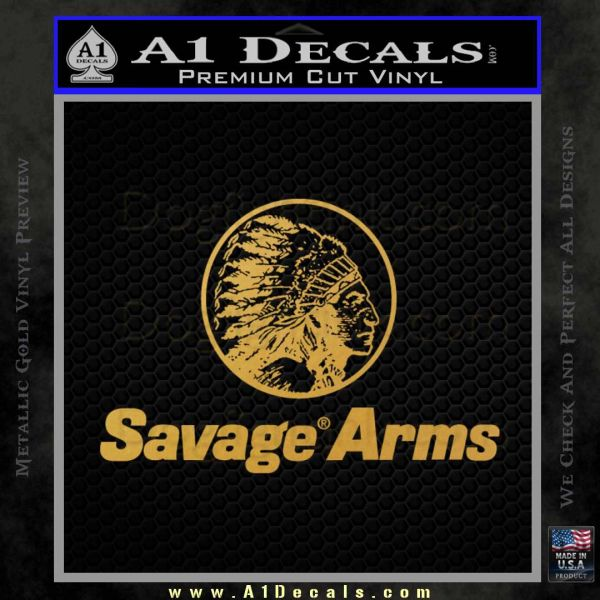 Savage Arms Firearms Decal Sticker Gold Vinyl
