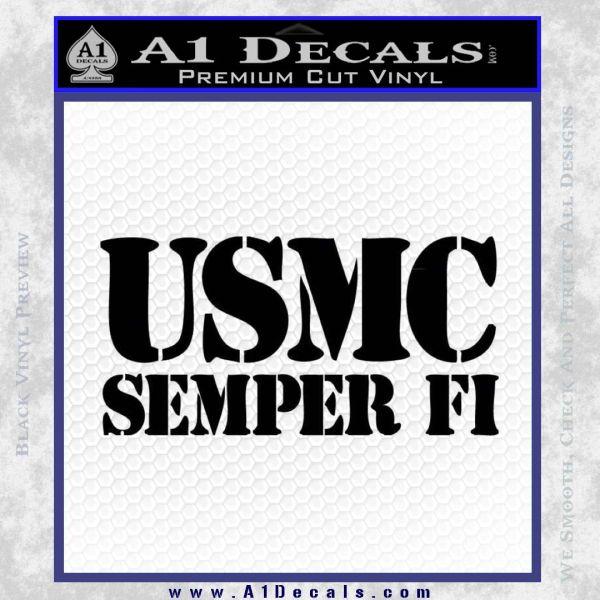 Semper Fi Decal Sticker USMC Black Vinyl