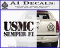 Semper Fi Decal Sticker USMC Carbon FIber Black Vinyl 120x97