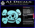 Skull and Cross Bones Stylized Decal Sticker Light Blue Vinyl Black 120x97