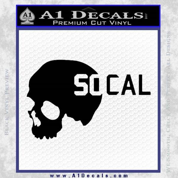 So Cal Skull Decal Sticker Black Vinyl Black