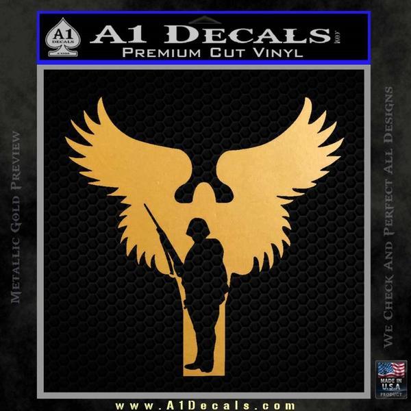 Soldiers Angels Decal Sticker Gold Metallic Vinyl Black