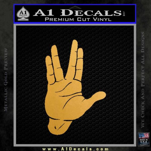 Spock Decal Sticker Star Trek Live Long And Prosper Gold Metallic Vinyl Black