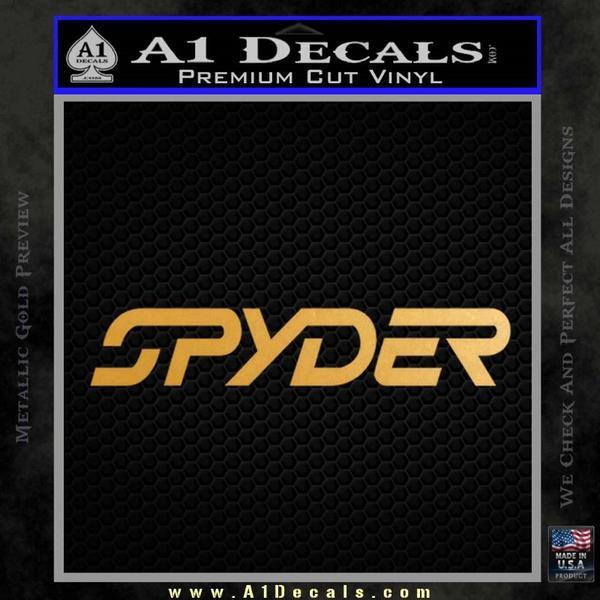 Spyder Ski Decal Sticker Wide Gold Metallic Vinyl Black