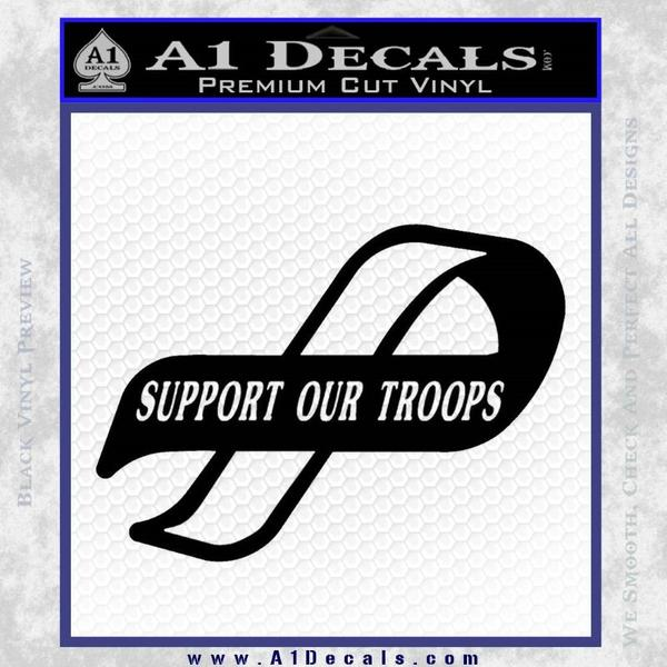 Support Our Troops Decal Sticker Black Intricate Vinyl Black