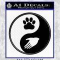 Yin Yang Hand Dog Paw Decal Sticker Black Vinyl 120x120