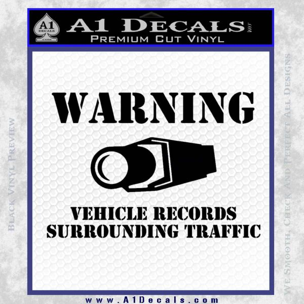 vehicle records surrounding traffic Decal Sticker Black Vinyl