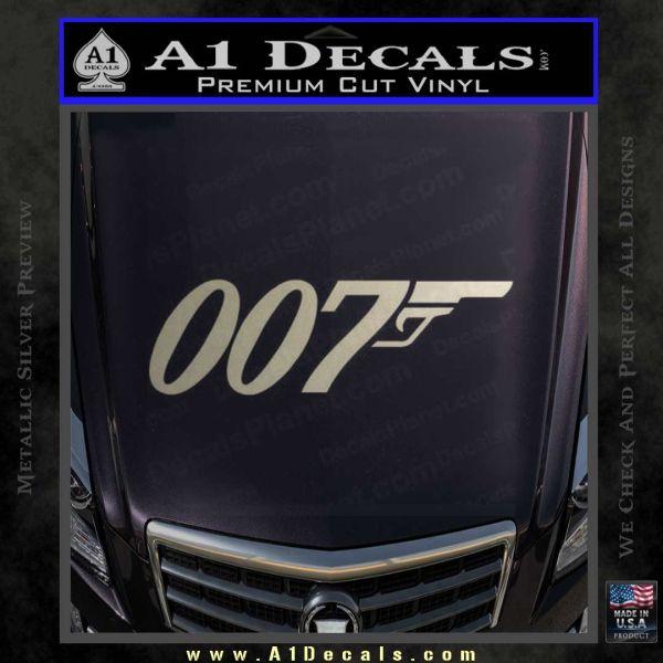 007 Decal Sticker James Bond Official Metallic Silver Emblem
