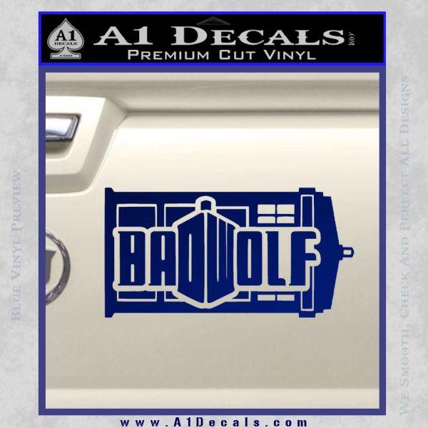 Doctor Who Bad Wolf TARDIS Mashup Decal Sticker Blue Vinyl