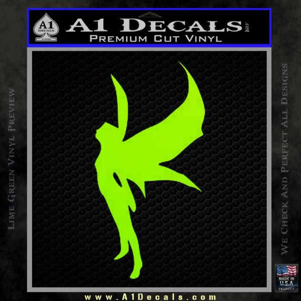 Fairy Standing Decal Sticker Lime Green Vinyl