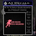 God Bless Our Soldiers Decal Sticker Pink Emblem 120x120
