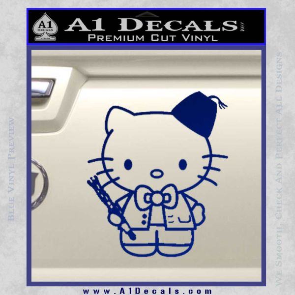 Hello Kitty Doctor Who Fez Decal Sticker Blue Vinyl