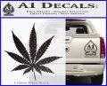 Pot Leaf Decal Sticker Carbon FIber Black Vinyl 120x97