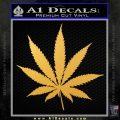 Pot Leaf Decal Sticker Gold Vinyl 120x120