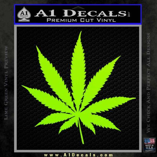 Pot Leaf Decal Sticker Lime Green Vinyl