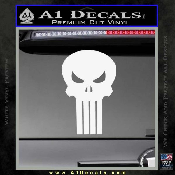 Skull Decal Sticker D3 Gloss White Vinyl
