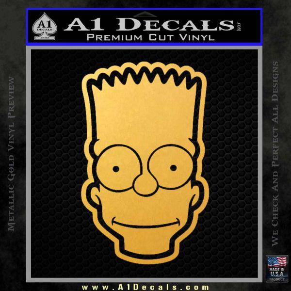 Bart Simpson Head Decal Sticker Gold Vinyl