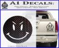 Devilish Smiley Face Decal Sticker 2 Pack Carbon FIber Black Vinyl 120x97