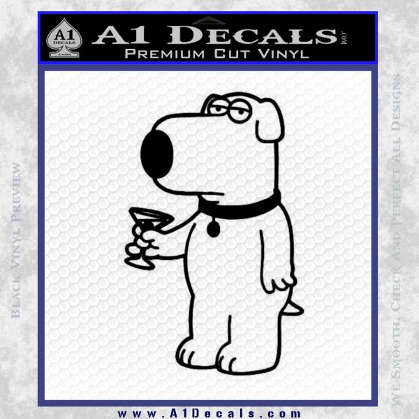 Family Guy Brian Decal Sticker Martini Black Vinyl