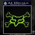 Fox Bones Decal Sticker Lime Green Vinyl 120x120