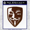 Guy Fawkes Anonymous Mask V Vendetta D8 Decal Sticker BROWN Vinyl 120x120