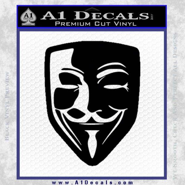 Guy Fawkes Anonymous Mask V Vendetta D8 Decal Sticker Black Vinyl