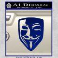 Guy Fawkes Anonymous Mask V Vendetta D8 Decal Sticker Blue Vinyl 120x120