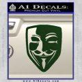 Guy Fawkes Anonymous Mask V Vendetta D8 Decal Sticker Dark Green Vinyl 120x120