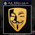 Guy Fawkes Anonymous Mask V Vendetta D8 Decal Sticker Gold Vinyl 120x120