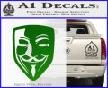 Guy Fawkes Anonymous Mask V Vendetta D8 Decal Sticker Green Vinyl Logo 120x97