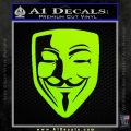 Guy Fawkes Anonymous Mask V Vendetta D8 Decal Sticker Lime Green Vinyl 120x120