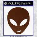 Happy Alien Face Decal Sticker BROWN Vinyl 120x120