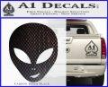 Happy Alien Face Decal Sticker Carbon FIber Black Vinyl 120x97