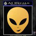 Happy Alien Face Decal Sticker Gold Vinyl 120x120