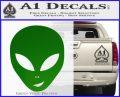 Happy Alien Face Decal Sticker Green Vinyl Logo 120x97