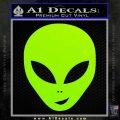 Happy Alien Face Decal Sticker Lime Green Vinyl 120x120
