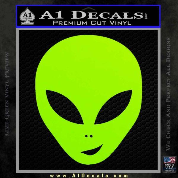 Happy Alien Face Decal Sticker Lime Green Vinyl