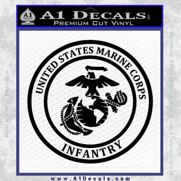 Marine Corp Infantry Emblem D2 Decal Sticker Black Vinyl