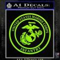 Marine Corp Infantry Emblem D2 Decal Sticker Lime Green Vinyl 120x120